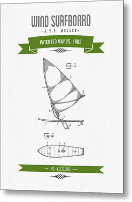 1982 Wind Surfboard Patent Drawing - Retro Green Metal Print by Aged Pixel