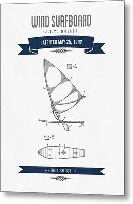 1982 Wind Surfboard Patent Drawing - Retro Navy Blue Metal Print by Aged Pixel