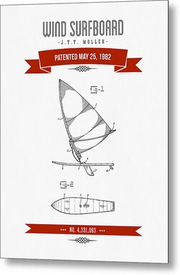1982 Wind Surfboard Patent Drawing - Retro Red Metal Print by Aged Pixel