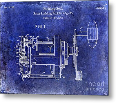1988 Penn Fishing Reel Patent Drawing Blue Metal Print