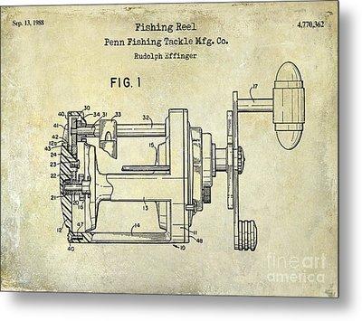1988 Penn Fishing Reel Patent Drawing Metal Print