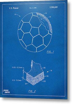 1996 Soccerball Patent Artwork - Blueprint Metal Print by Nikki Marie Smith