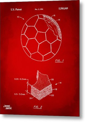 1996 Soccerball Patent Artwork - Red Metal Print by Nikki Marie Smith