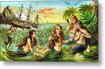 19th C. Mermaids At Ship Wreck Metal Print