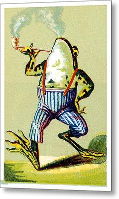 19th C. Pipe Smoking Frog Metal Print by Historic Image