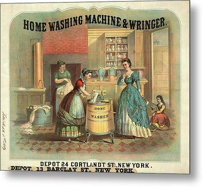 19th Century Advert For A Washing Machine Metal Print