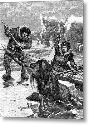 19th Century Eskimos Hunting Metal Print
