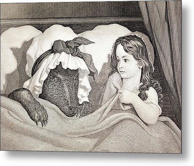19thc. Child Predator Red Riding Hood Metal Print