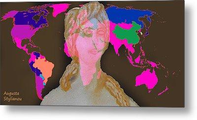 Aphrodite And World Map  Metal Print