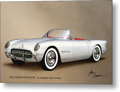 1953 Corvette Classic Vintage Sports Car Automotive Art Metal Print