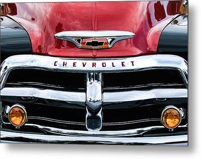 1955 Chevrolet 3100 Pickup Truck Grille Emblem Metal Print by Jill Reger
