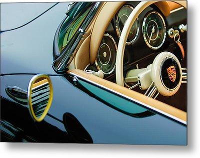 1956 Porsche 356 A Speedster Steering Wheel Emblem Metal Print by Jill Reger