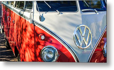 96 Inch Panoramic - 1961 Volkswagen Vw 23-window Deluxe Station Wagon Emblem Metal Print by Jill Reger