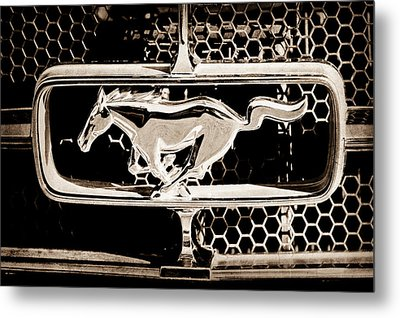 1965 Ford Shelby Mustang Grille Emblem Metal Print by Jill Reger