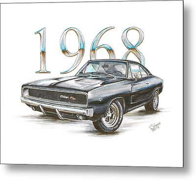1968 Dodge Charger R/t Metal Print by Shannon Watts