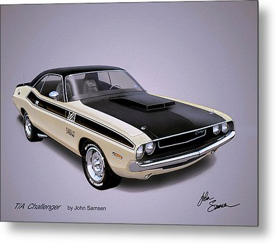 1970 Challenger T-a  Dodge Muscle Car Sketch Rendering Metal Print by John Samsen
