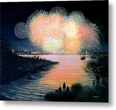 4th Of July Gloucester Harbor Metal Print by Eileen Patten Oliver