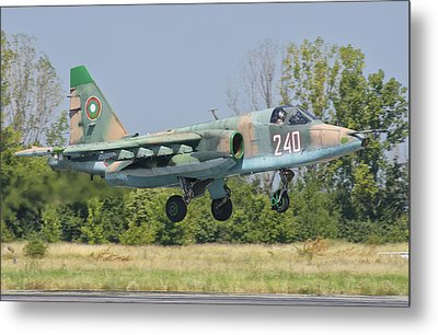 A Bulgarian Air Force Su-25 Jet Metal Print by Giovanni Colla