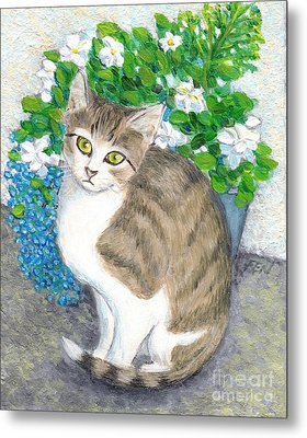 A Cat And Flowers Metal Print
