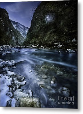 A River Flowing Through The Snowy Metal Print by Evgeny Kuklev