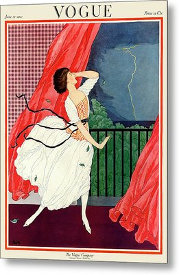 A Vogue Magazine Cover Of A Woman Metal Print by George Wolfe Plank