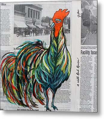 Metal Print featuring the painting A Well Read Rooster by Janice Rae Pariza