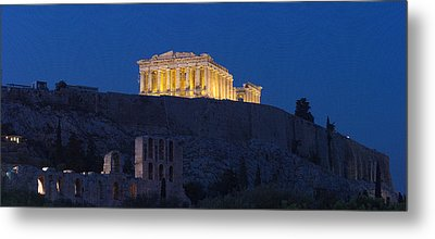 Acropolis Of Athens At Dusk, Athens Metal Print