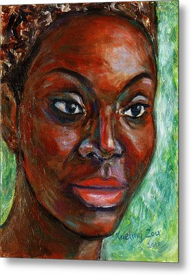 Metal Print featuring the painting African Woman by Xueling Zou