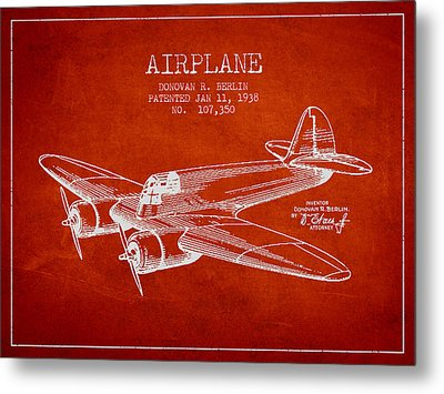 Airplane Patent Drawing From 1938 Metal Print by Aged Pixel