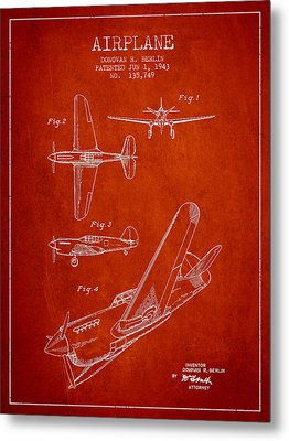 Airplane Patent Drawing From 1943 Metal Print by Aged Pixel