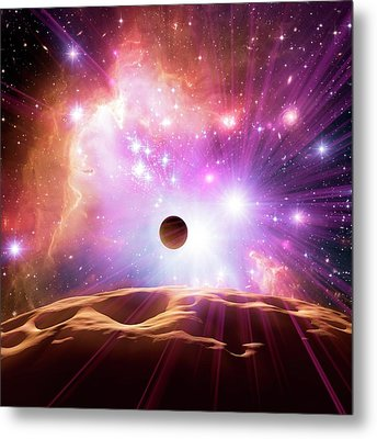 Alien Planet And Star Cluster Metal Print by Detlev Van Ravenswaay