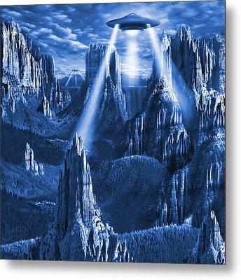 Alien Planet In Blue Metal Print by Mike McGlothlen