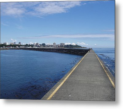 Metal Print featuring the photograph Along The Breakwater by Marilyn Wilson