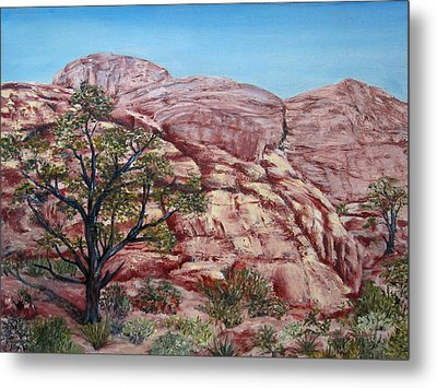 Metal Print featuring the painting Among The Red Rocks by Roseann Gilmore