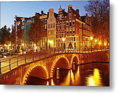 Amsterdam - Old Houses At The Keizersgracht In The Evening Metal Print by Olaf Schulz