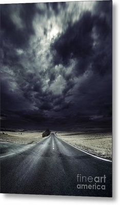 An Asphalt Road With Stormy Sky Above Metal Print by Evgeny Kuklev