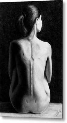 Metal Print featuring the drawing Ana In Waiting  by Joseph Ogle