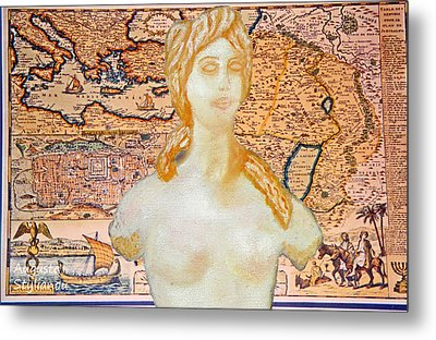 Ancient Middle East Map And Aphrodite Metal Print