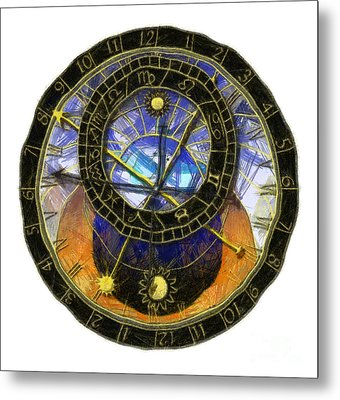 Astronomical Clock Metal Print