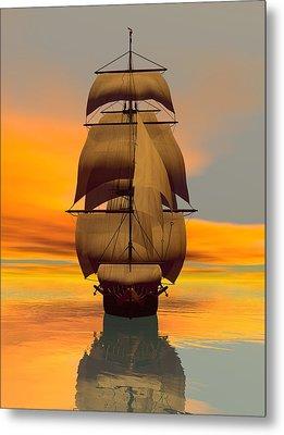 Metal Print featuring the digital art At Full Sail by Sandra Bauser Digital Art
