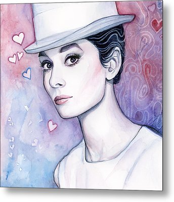 Audrey Hepburn Fashion Watercolor Metal Print by Olga Shvartsur