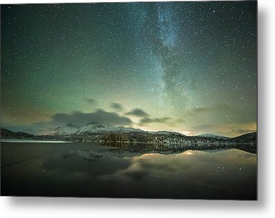 Aurora Borealis And Milky Way Metal Print by Tommy Eliassen