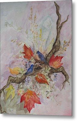 Autumn Bluebirds Metal Print