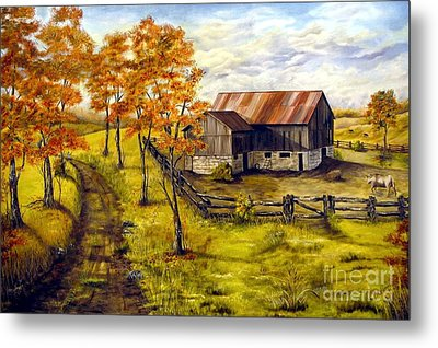 Metal Print featuring the painting Autumn Shadows by Anna-Maria Dickinson