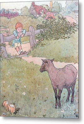 Baa Baa Black Sheep Metal Print