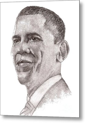 Metal Print featuring the drawing Barack Obama by Nan Wright