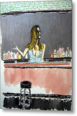 Metal Print featuring the painting Bartender by J Anthony