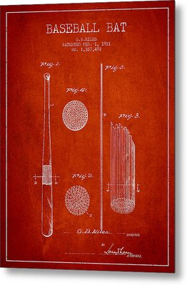 Baseball Bat Patent Drawing From 1921 Metal Print by Aged Pixel