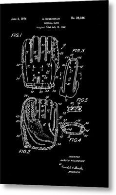 Baseball Glove Patent 1974 Metal Print by Mountain Dreams