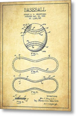 Baseball Patent Drawing From 1928 Metal Print
